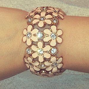 Peach Rhinestone Flower Bracelet
